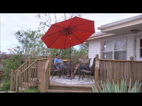 ATLeisure 9' Starlight Solar Market Umbrella with Cover on QVC