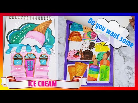 DIY handmade paper quiet book ice cream shop for kids 종이인형 놀이