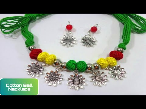 How to Make Lovely Cotton Thread Bead Necklace With Earrings // Handmade Jewelry Tutorial -DIY
