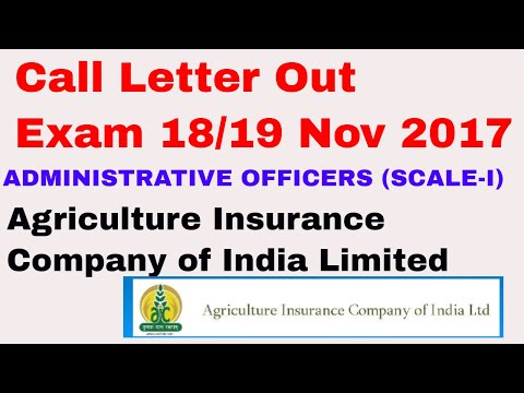 Call Letter Out ADMINISTRATIVE OFFICERS (SCALE-I) Agriculture Insurance Company of India