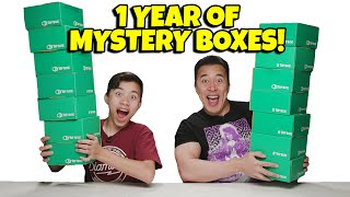 OPENING 1 YEAR OF MYSTERY BOXES!!! RIP 1Up Box! How Many T-Shirts Can Evan Wear at Once?