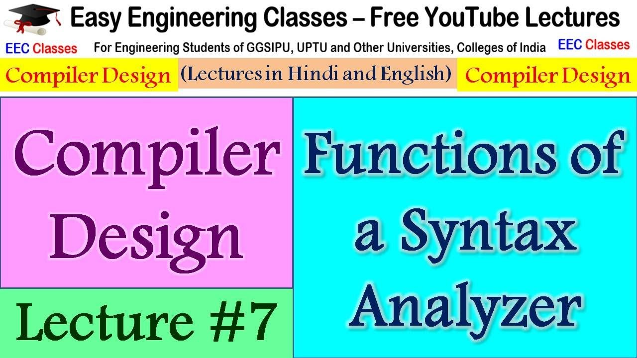 Compiler Design Lecture #7 - Syntax analysis, Tasks Performed by Parser in  Hindi, English
