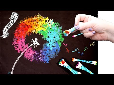Easy Rainbow Dandelion Q Tip Acrylic Painting For Beginners Tutorial 🌈🎨💜