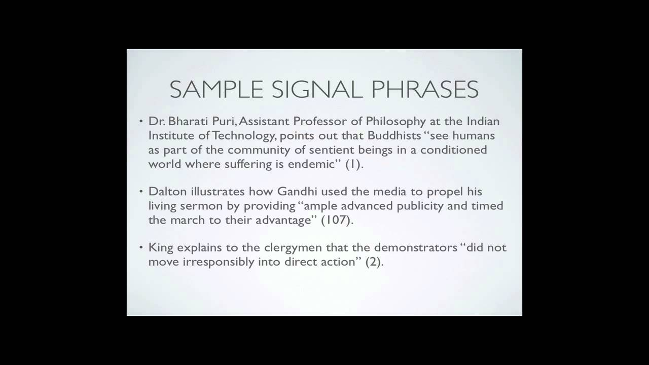 Signal Phrases Amp Parenthetical Citation Youtube