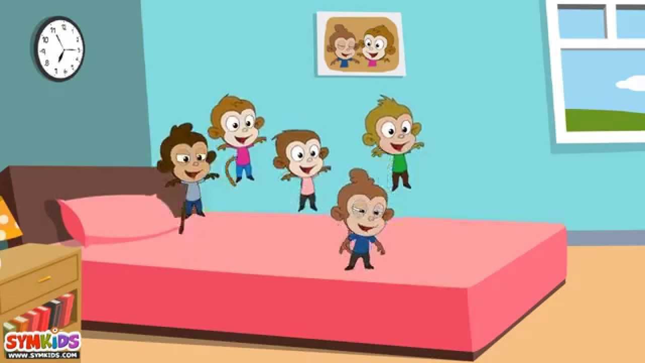 five little monkeys jumping on the bed nursery rhyme - cartoon