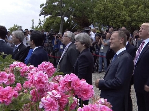 Raw: G7 Leaders View Jet Flyover Before Meetings