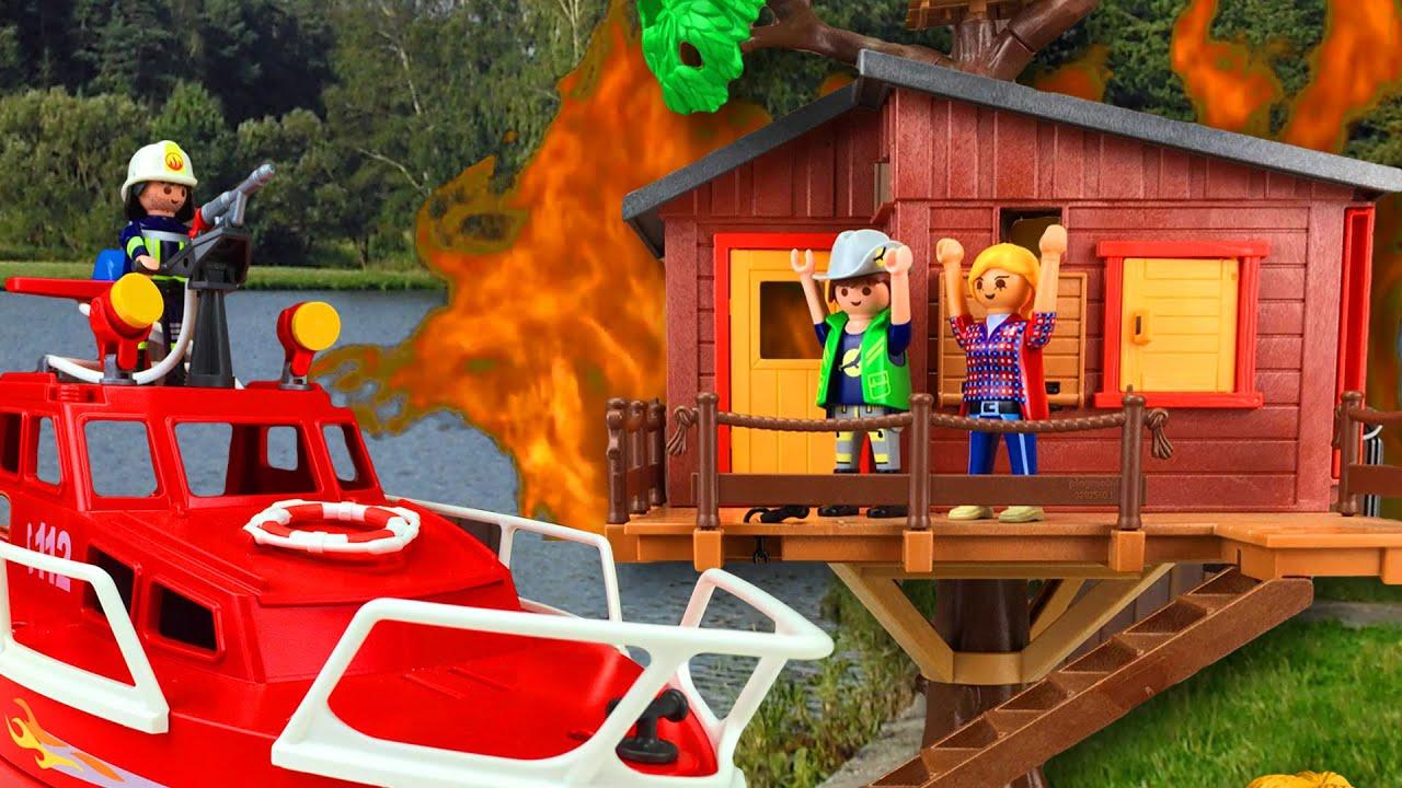 playmobil bomberos incendio en la casa del rbol pandido tv
