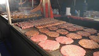 Best of Balkans Meat on Grill. Pljeskavica, Ćevapčići and Ražnjići. Street Food