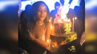 Rihanna celebrates & blows out the candles on her birthday