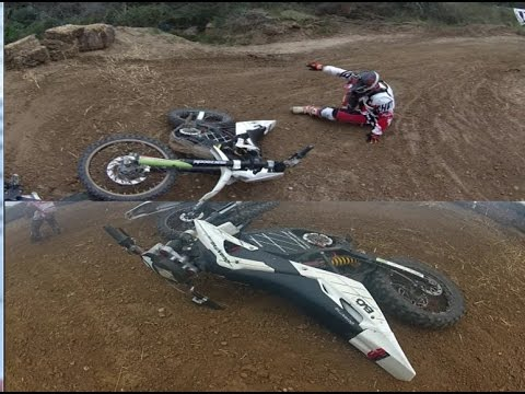 Motocross Amateur Race and Crash Barcelona Electric Quantya EVO1