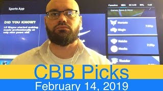 CBB Picks (2-14-19) | College Basketball NCAAB Expert Predictions Video CBK NCAAM | Men's NCAA Vegas