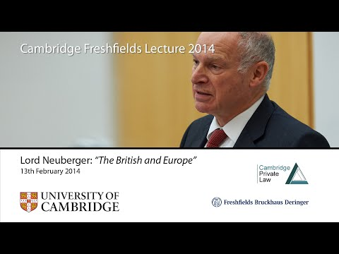 'The British and Europe': 2014 Cambridge Freshfields Lecture