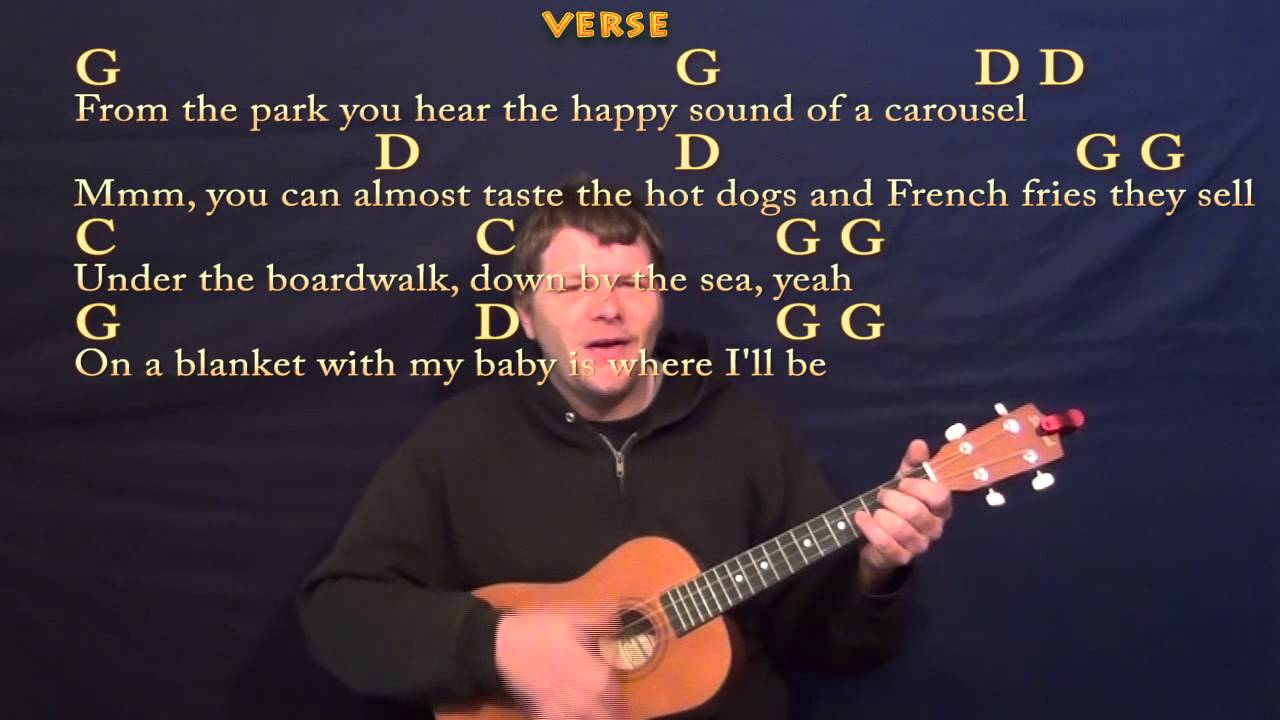 Under The Boardwalk The Drifters Baritone Ukulele Cover Lesson