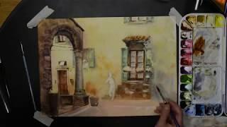 Итальянский дворик. Акварельный speedpainting. Italian courtyard in watercolors.