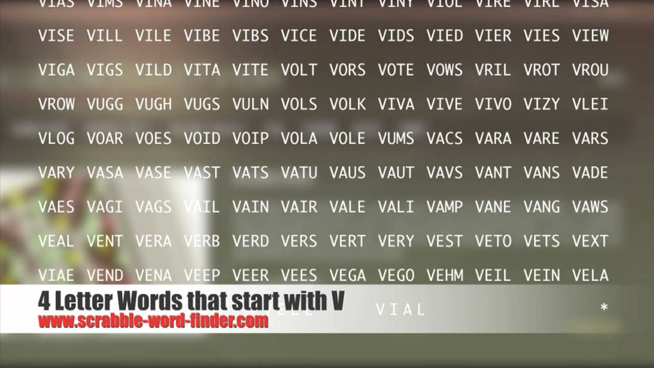4 letter words that start with V   YouTube