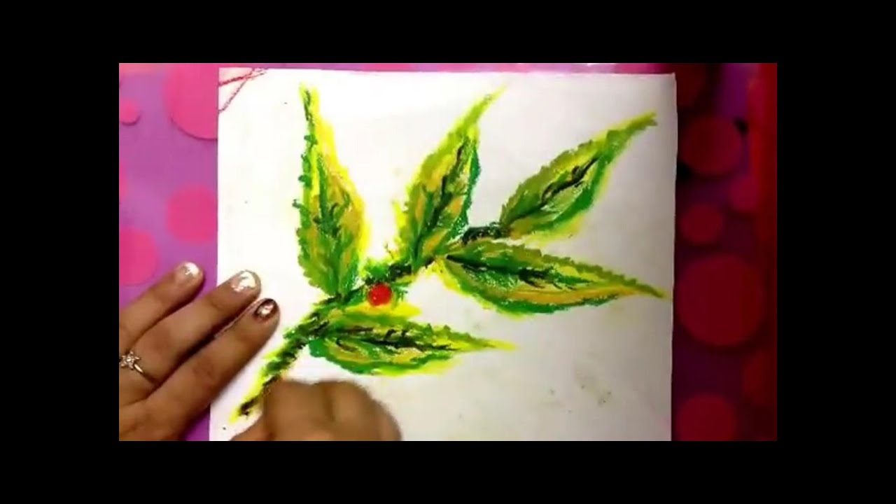 How To Paint Abstract Leaves Using Oil Pastel