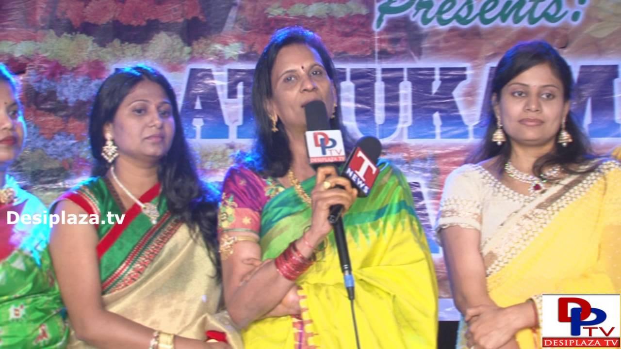 Sandhya Gavva,Past President of ATA speaking to the media at DATA Bathukamma Sambaralu