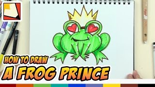 How to Draw a Frog Prince with Heart Eyes and Crown - Art Lessons for Kids | BP