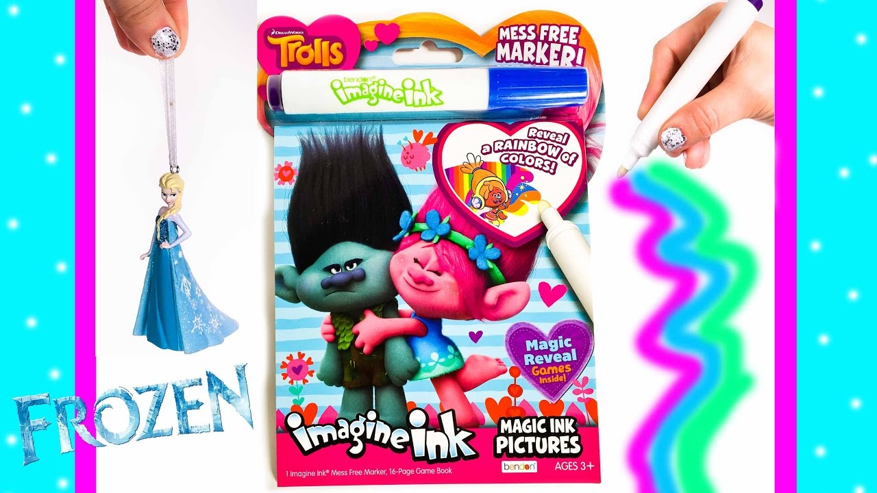 trolls imagine ink magic marker art coloring book disney frozen elsa holiday ornament - Magic Marker Coloring Book