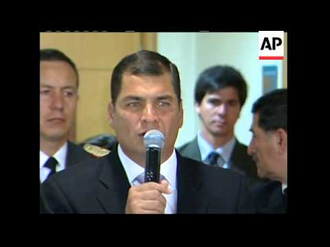 Correa arrives to discuss crisis betw Bol, Ecuador and Colombia