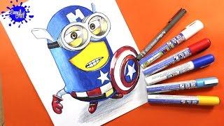 Como dibujar a los minions capitan america l  how to draw minions l Avengers