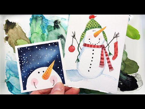 *NEW* Watercolor Snowmen Tutorial/ Step by Step /Easy for Beginners/ Christmas/  #watercolorpainting