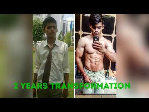 2 years Indian natural Body transformation story-skinny to muscular 2017   MS Fitness