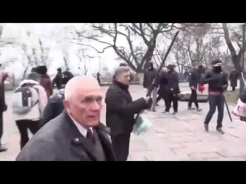 Ukrainian Nazis Beating up Pensioners Protesting Against Poroshenko and Yatsenyuk