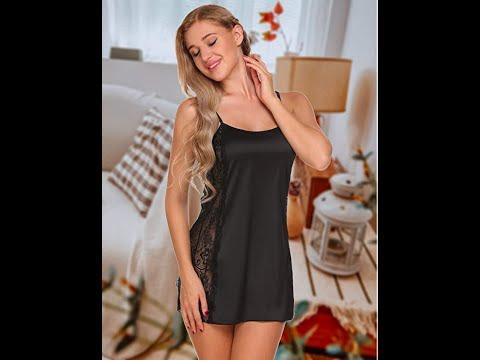 Avidlove Women Lace Lingerie Satin Pajamas Sexy Nightwear Chemise Nightgown, Small, Black At Amazon  Sexy Nightwear