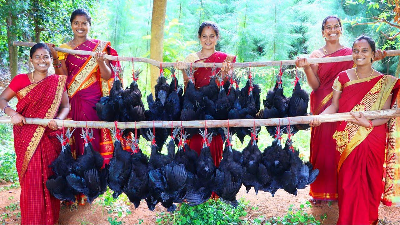 KADAKNATH CHICKEN BIRYANI RECIPE l Traditional & Healthy Black Chicken Biryani in Village Style