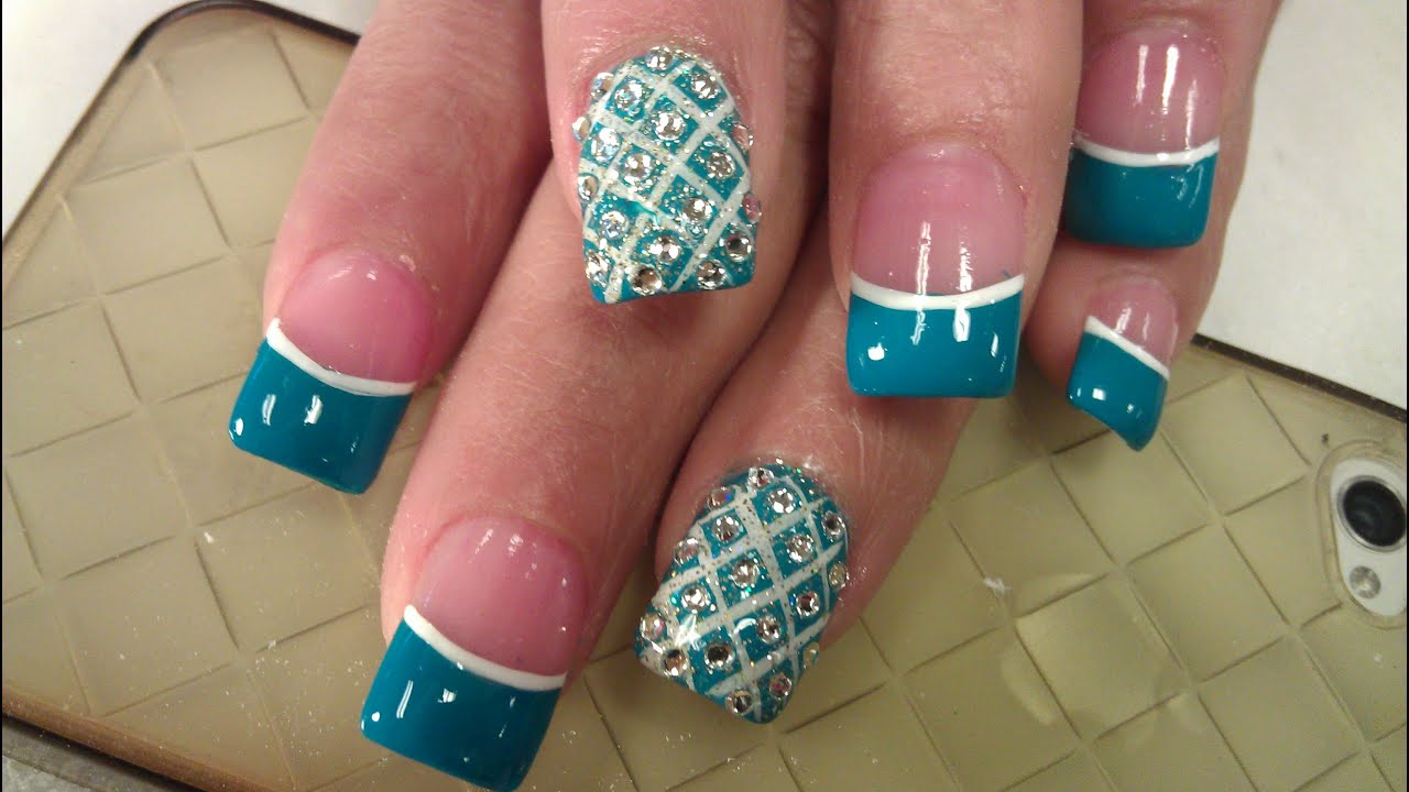 ox blue diamond nails
