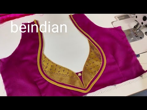 Very Beautiful Blouse Back Neck Design Cutting And Stitching Paithani Blouse Youtube