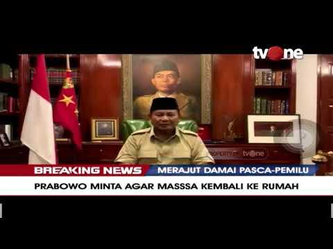Prabowo Subianto Kembali Mengimbau Massa Aksi Untuk Kembali Ke Rumah