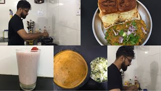 Sunday Cooking Vlog/Pav Bhaji/pumpkin Araithuvitta Sambar/Strawberry Milkshake