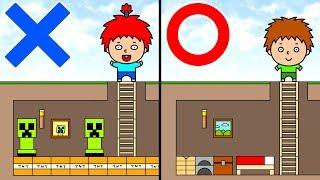 【アニメ】ばかお、マイクラで地下室を作る【バカクラ】Minecraft Animation