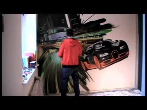 Graffiti time lapse - Cityscape Bugatti Veyron Bedroom- Graffiti4hire
