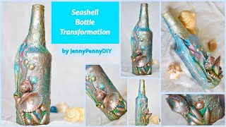 seashell bottle decoration|bottle art|bottle craft|bottle transformation|ideas|mixed media technique