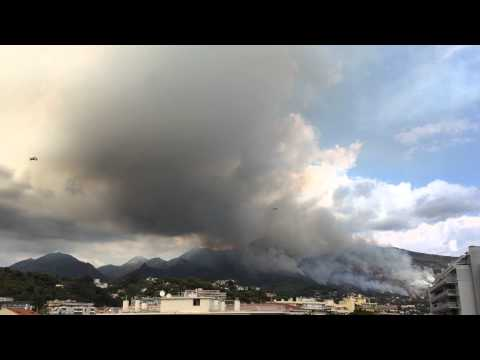 Fire in Ventimiglia. Menton. France. Rescues Aircraft