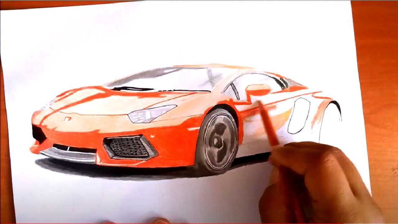 Lamborghini Aventador Cizimi Realistic Car Drawing Youtube