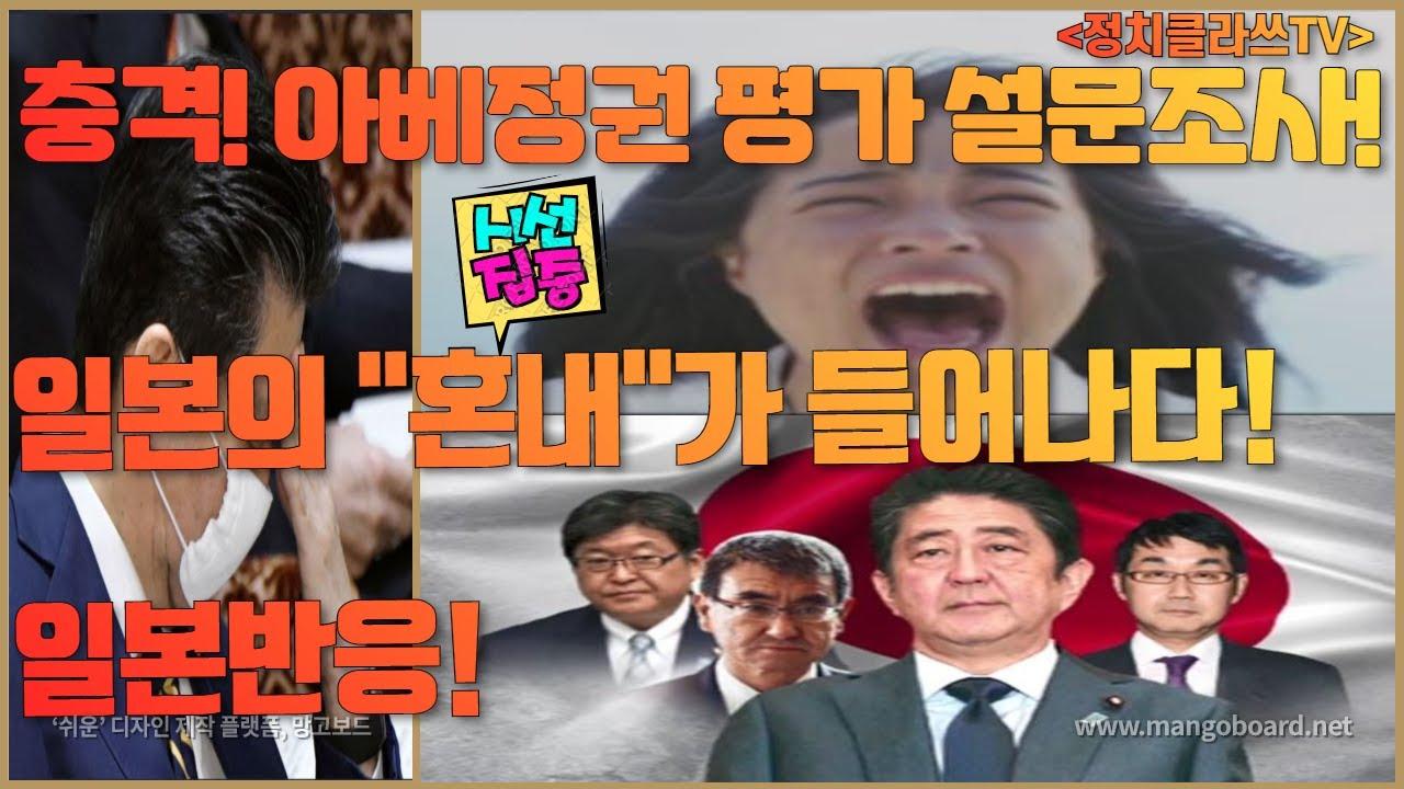 """충격! 아베정권 평가 설문조사! 일본국민의 """"혼내""""가 들어나다!"""