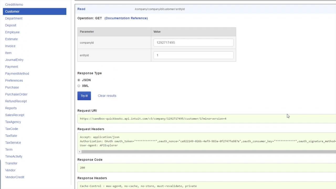 First API Explorer Call