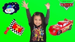 Disney Pixar Cars Flag Finish Lightning McQueen Toy Car Unboxing and Test Drive Kid Fun Games