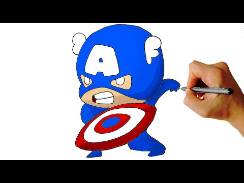 Captain america simple. How to draw chibi