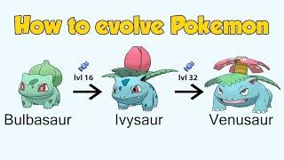 How To Evolve Pokémon - Geneŗation 1 Kanto (Animated Sprites)