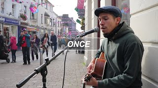 ONCE - LIAM GALLAGHER: Street musician live performance   busking in Galway   Tito Larios cover