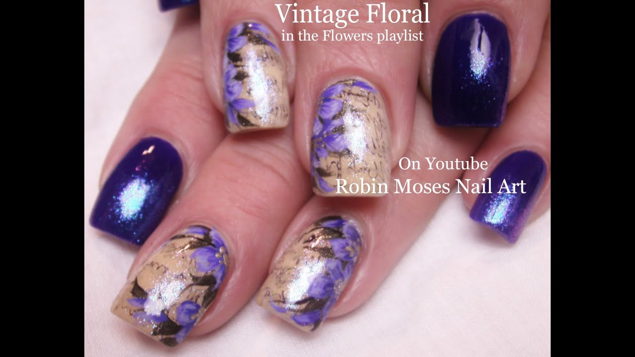 Vintage Navy Nail Art Design Tutorial with Purple Antique Flowers - Vintage Navy Nail Art Design Tutorial With Purple Antique Flowers