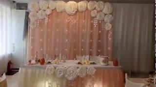 Нежно персиковое оформление свадьбы Кирилла и Анны. Украшение кафе Рыбацкое от Компании Праздник.