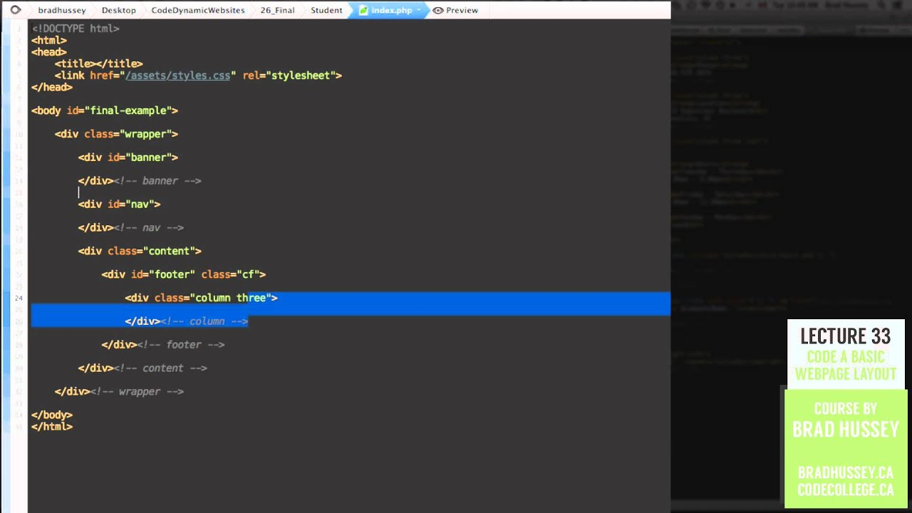 Basic Layout [#33] Code Dynamic Websites with PHP - YouTube