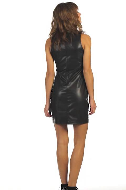 Online pu leather bodycon dress woollahra