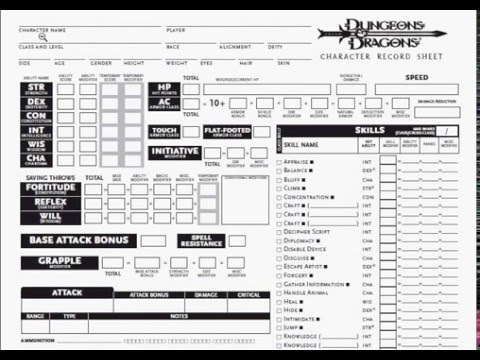 Dungeons and Dragons: The Basics: Character Sheet